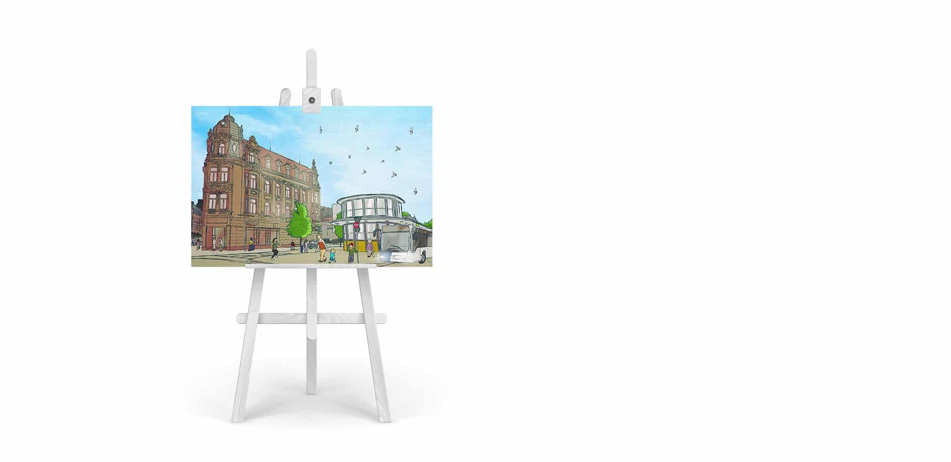 Gemälde Busbahnhof