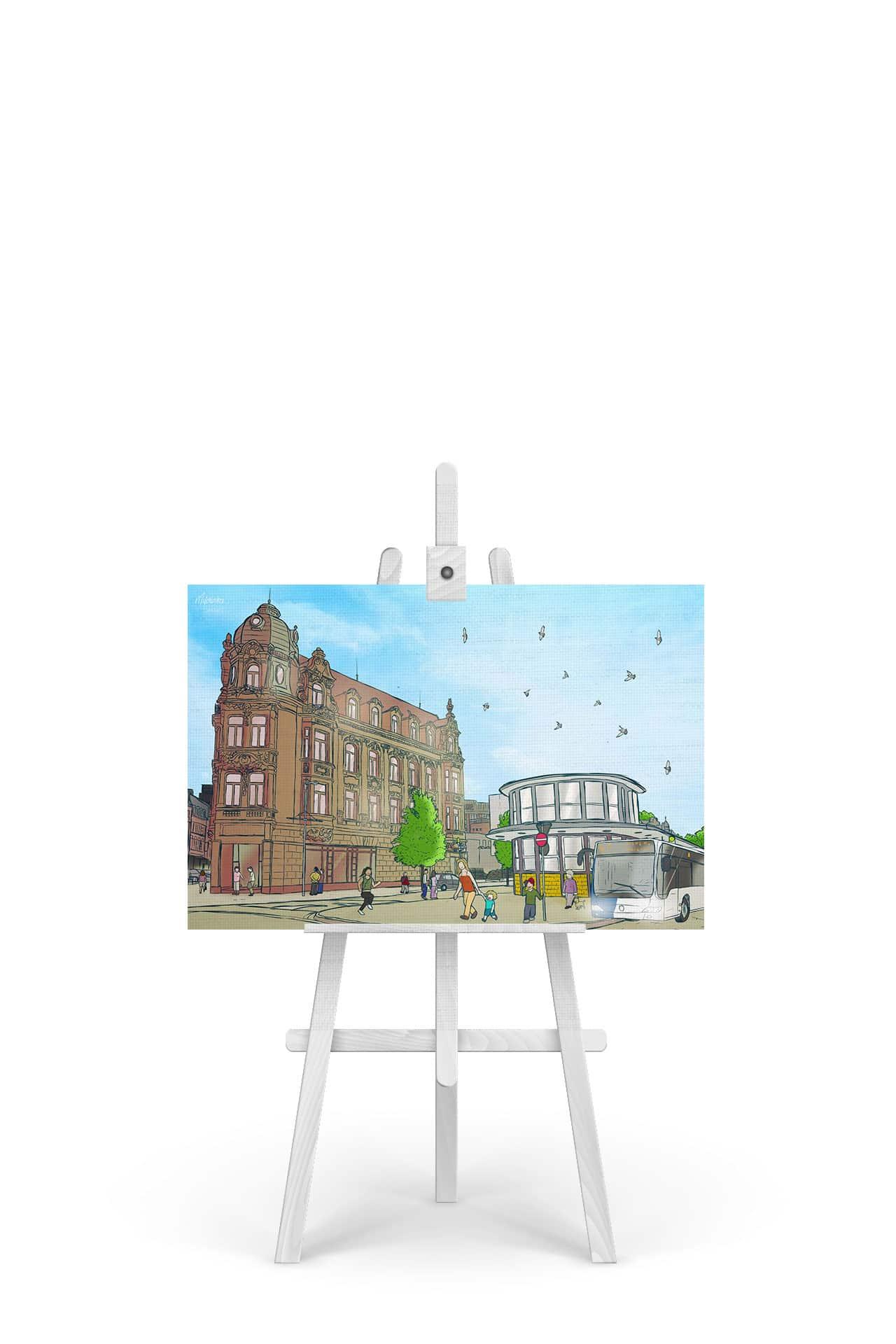 Gemälde Saarlouis Busbahnhof ZOB