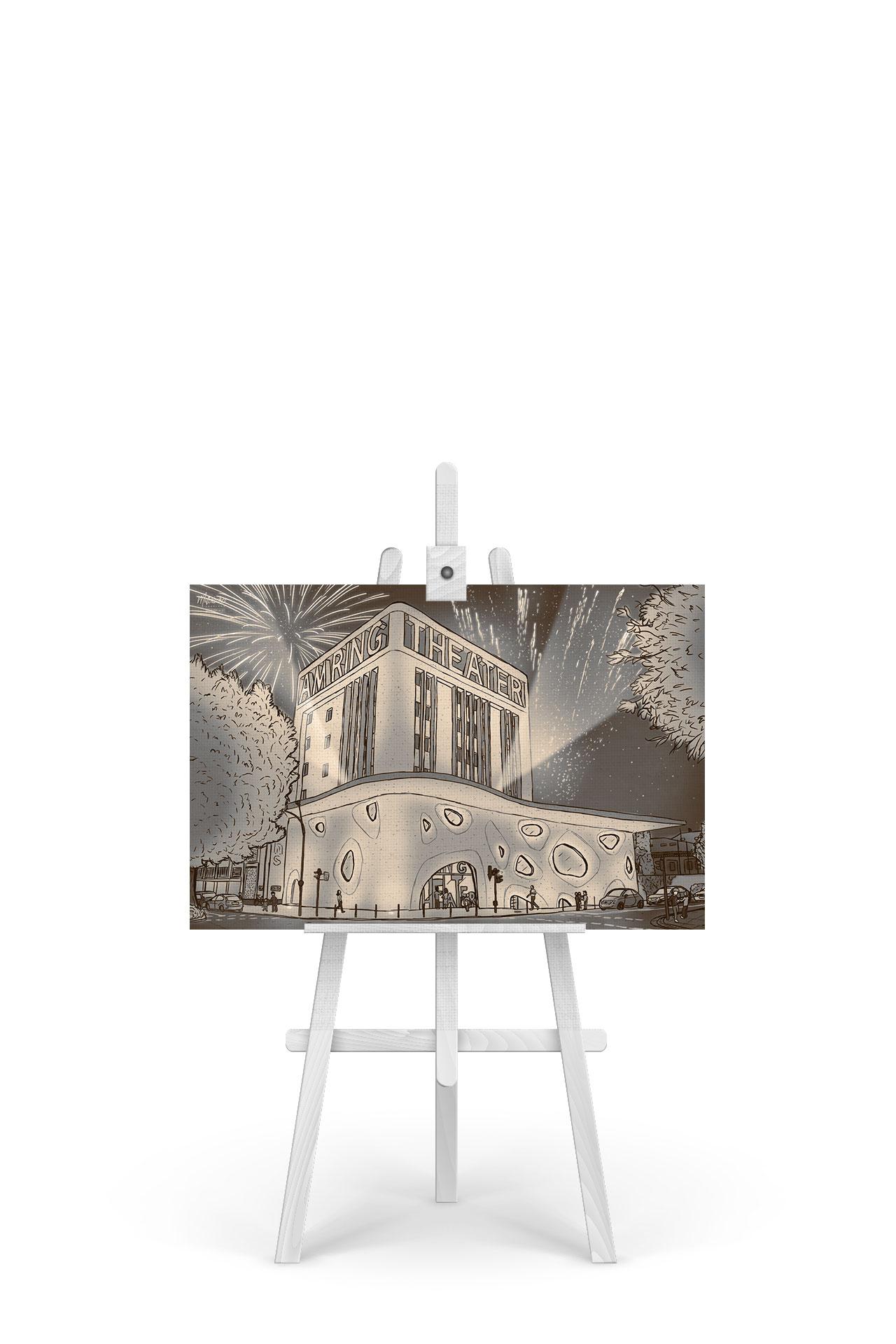 Gemälde Theater Am Ring Sepia-Edition