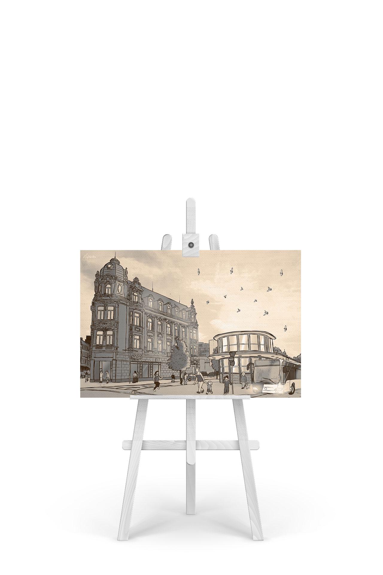 Gemälde Busbahnhof Sepia-Edition