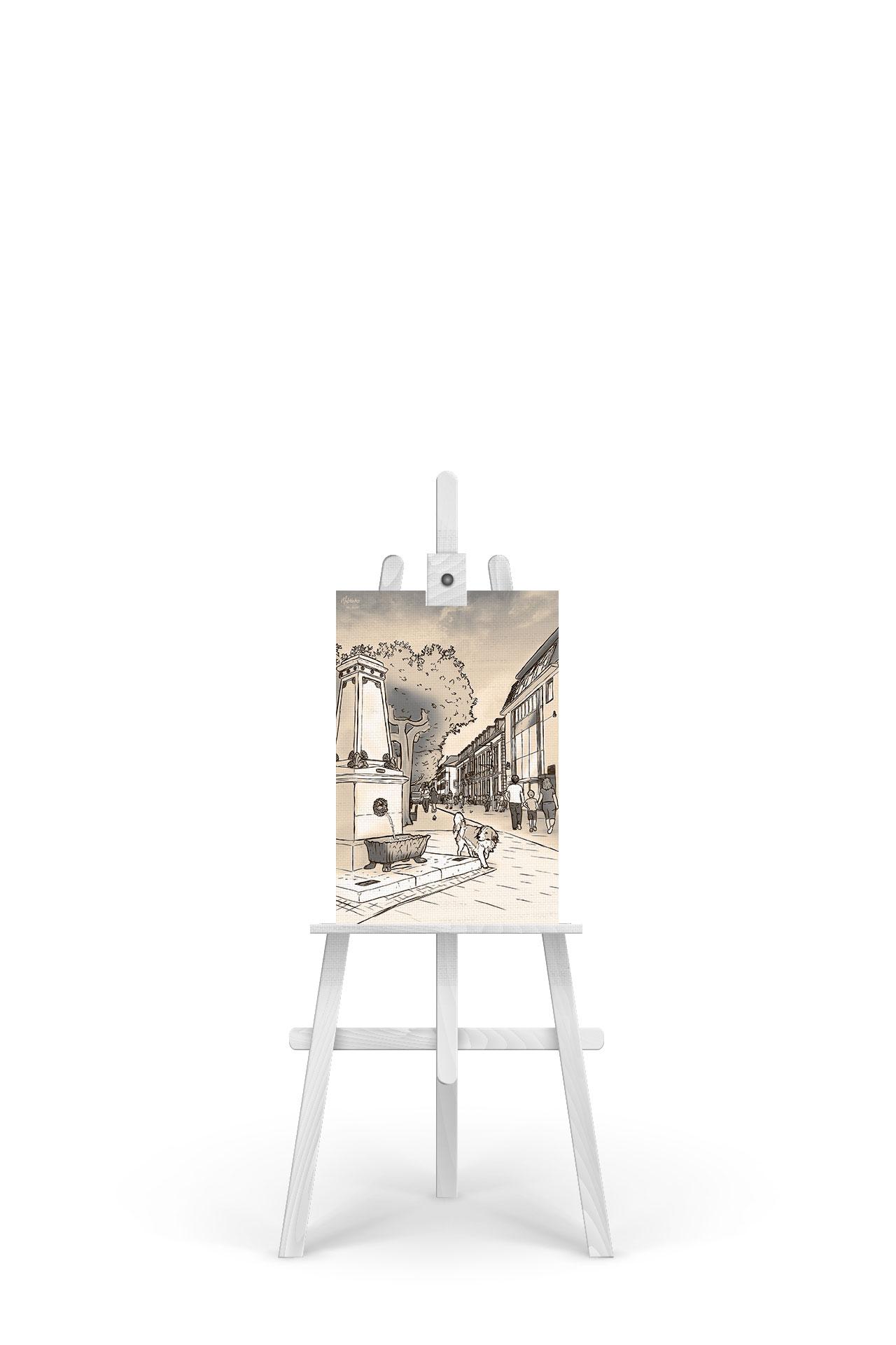 Gemälde Saarlouis Großer Markt Sepia-Edition